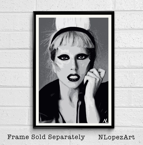 Lady Gaga Illustration 2 Music Icon Pop Art Home Decor In Etsy