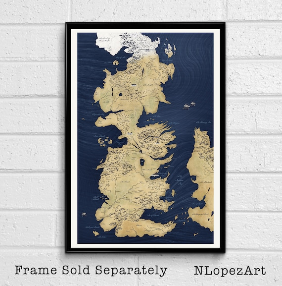 Game of Thrones Westeros Map Song of Ice and Fire Poster Print | Etsy