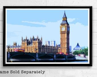 Big Ben 6 - Palace of Westminster London Pop Art Print and Poster England Monument UK Landmark Travel Home Decor Canvas