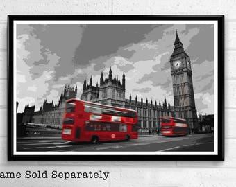 Big Ben 3 - Palace of Westminster London Pop Art Print and Poster England Monument UK Landmark Travel Home Decor Canvas