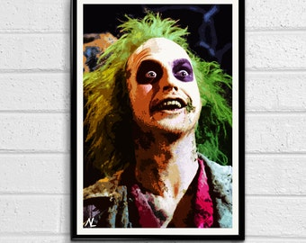 Beetlejuice Michael Keaton Illustration, Tim Burton Film, Horror Movie, Comedy Pop Art, Home Decor, Poster, Print Canvas