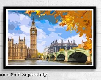 Big Ben 5 - Palace of Westminster London Pop Art Print and Poster England Monument UK Landmark Travel Home Decor Canvas