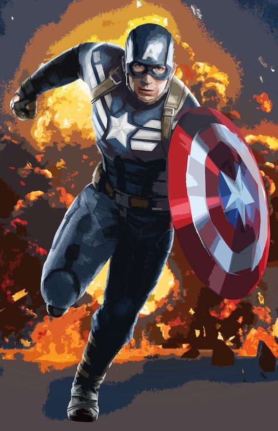 Captain America Superhero Movie Art Canvas Poster Print 8x12 24x36 inch