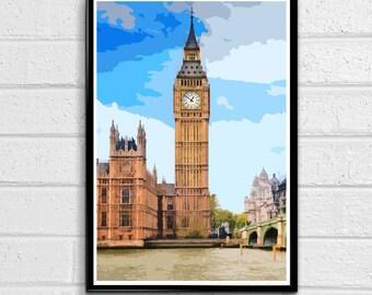 Big Ben 2 - Palace of Westminster London Pop Art Print and Poster England Monument UK Landmark Travel Home Decor Canvas