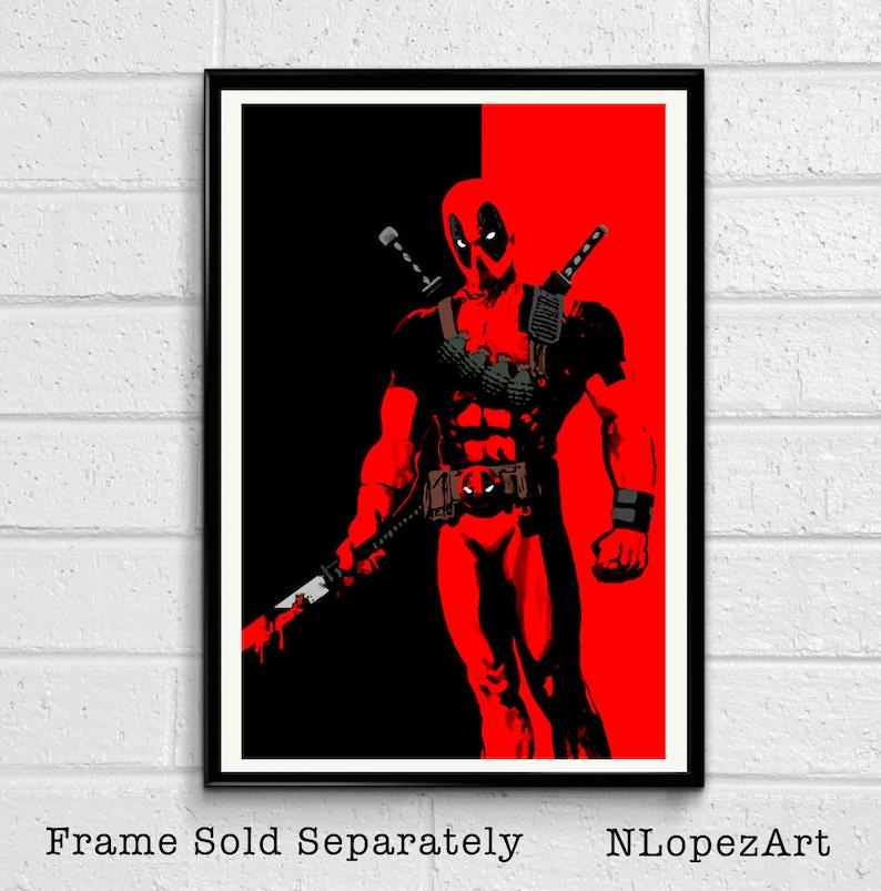 f1ab667531c53 Deadpool Pop Art Illustration Marvel Xmen Superhero Comic | Etsy