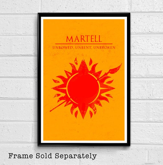 House Martell Sun and Spear Sigil Illustration - Game of Thrones Fantasy on ice shield house, healing house, ice fish house, ice tree house,
