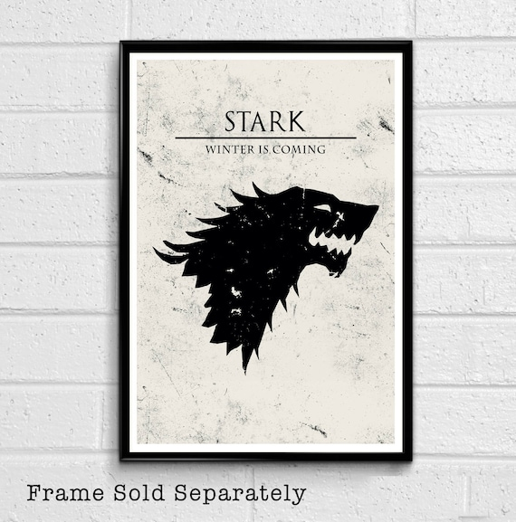 House Stark Direwolf Sigil Illustration Game Of Thrones Fantasy Pop Art Song Of Ice And Fire Home Decor In Poster Print Or Canvas