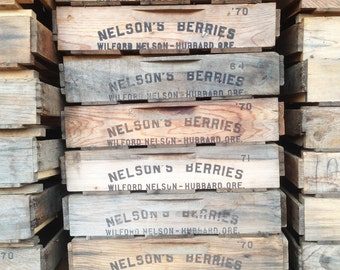 Vintage Wooden Berry Crate -- Rustic Industrial Storage Box