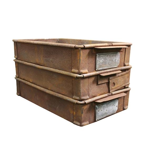Attrayant Vintage Industrial Metal Crate Rustic Steel Storage Box | Etsy