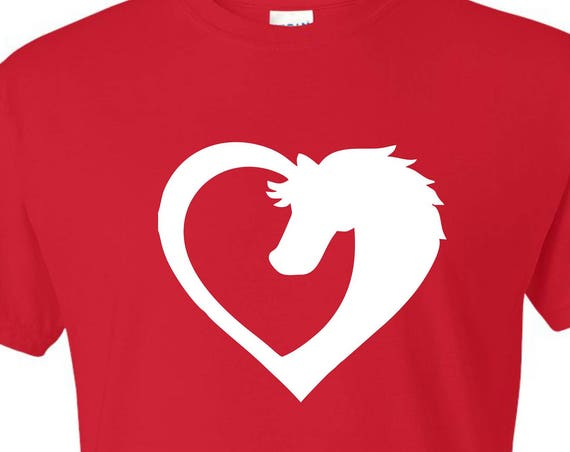 horse with heart T-SHIRT, Funny tee shirt, Party shirt, Sarcastic shirt Birthday gift, shirt with saying ,graphic tee