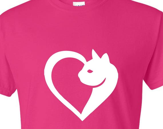 Cat with heart T-SHIRT, Funny tee shirt, Party shirt, Sarcastic shirt Birthday gift, shirt with saying ,graphic tee