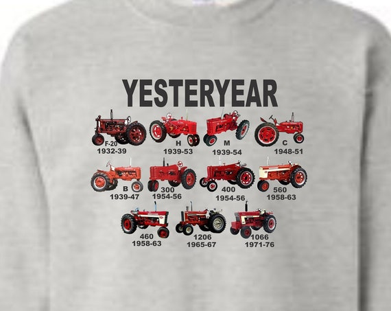 tractor crew neck sweatshirt, red tractor sweat shirt, farmall shirt, yesterday shirt, mens shirt, vintage tractor shirt,