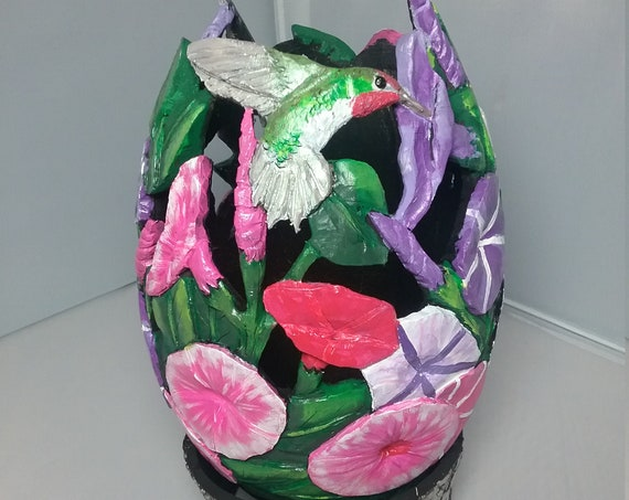 Gourd, carved gourd, gourd art, petunias with hummingbirds, dragonfly