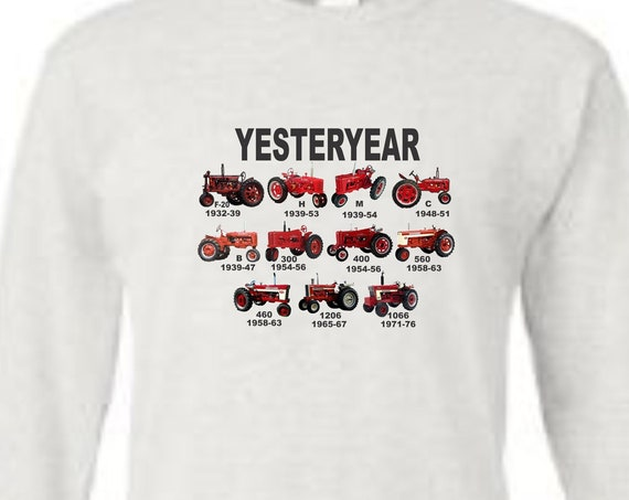 tractor longsleeve shirt, red tractor shirt, farmall shirt, yesterday shirt, mens shirt, vintage tractor shirt,