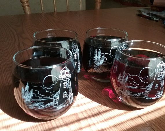 4 hand engraved lighthouse whiskey glasses, 4 engraved whiskey glasses, 4 engraved wine glasses, booze glasses, cocktail glasses