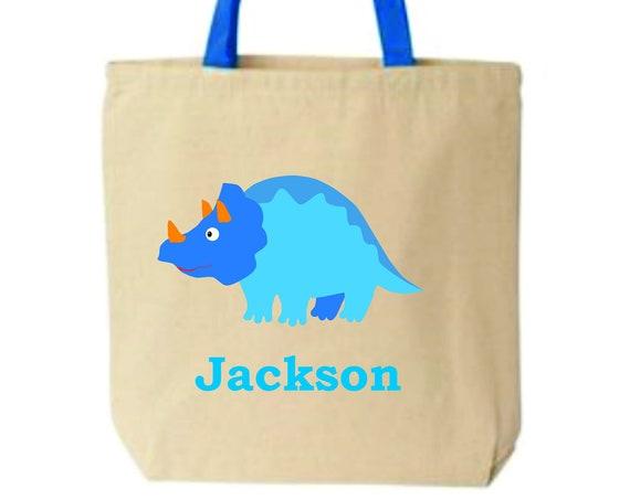 Kids book bag,kids personalized bag, dino bags, customized tote bag, cloth grocery bag, School bag, daycare bag