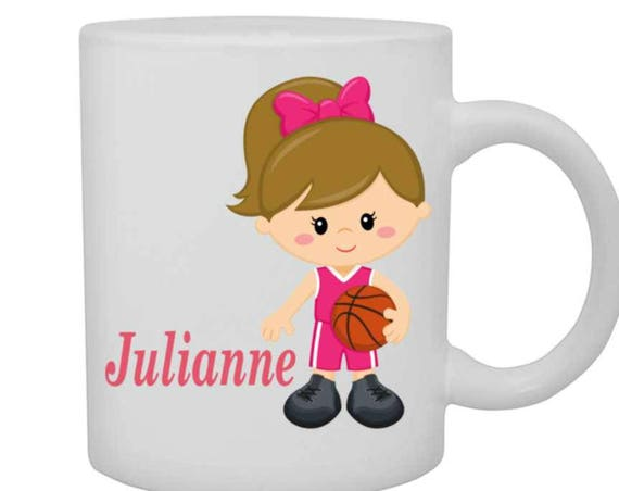 girls cup basketball player, girls personalized mug, girl basketball player mug, customized cup, girl baseball player cup, red head girl cup