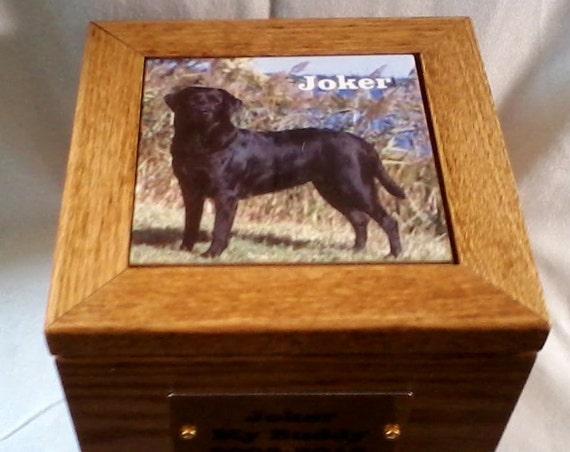 Large pet urn, pet memorial, pet ash box, pet burial box, oak urn,handcrafted wooden oak pet urn, urn for larger dogs, USA made pet urn