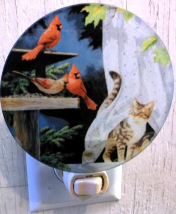 cardinal night light, bird night light, cat night light, pretty night light, bathroom night light, kitchen night light,