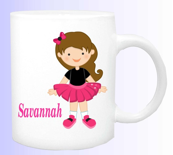 girl with tutu cup, girl dancer mug, kids cup,  personalized dance cup, personalized girls mug, girls special cup, girls plastic cup,