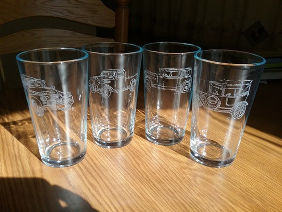 Beer glasses, Pub glasses,automobile glasses,antique car glasses,  Pint beer glasses, Gifts for him,  Beer drinker gift