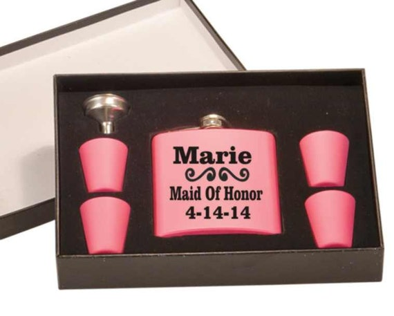 bridal gift, wedding flask set, bridesmade gift, maid of honor gift, bachelorette gift, brides gift, custom flask, personalized flask