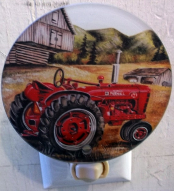 red tractor with barn night light, tractor night light, farm night light, bathroom night light, kitchen night light, pretty night light,