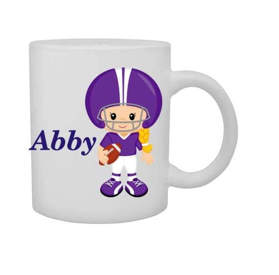 cup girl football player, personalized mug, customized kids cup, football player girl mug, girl sports cup, girl sports mug