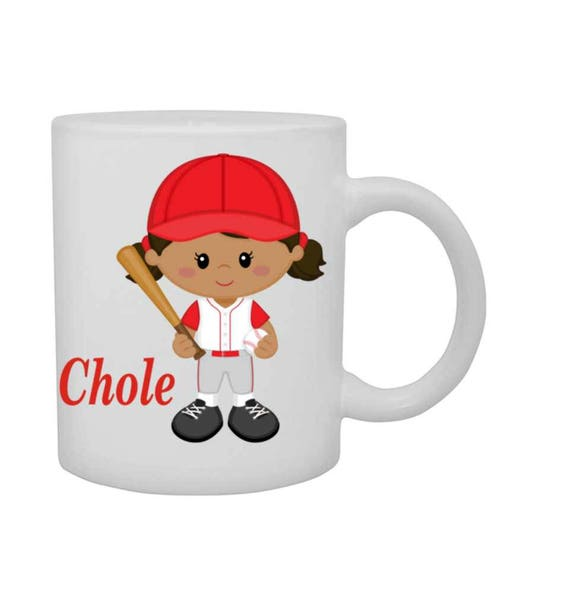 cup with girl baseball player, girls personalized mug, girl baseball player mug, customized cup, girl baseball player cup, red head girl cup