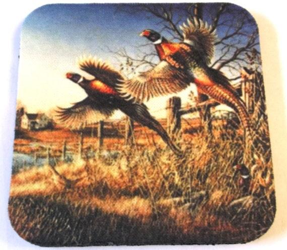 pheasant coasters set of 4, wildlife coasters, rubber coasters, fabric coasters,hunters coasters, man cave coasters
