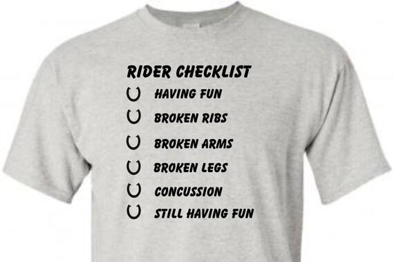 Horse Rider Checklist, funny shirt, trending top, popular trend, horse lovers, unisex shirt, Rodeo shirt,