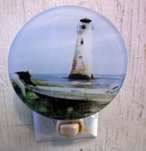 lighthouse night light, decorative night light, pretty night light, bathroom light, kitchen night light, night light,