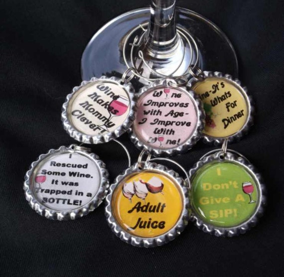 funny wine charms, funny drink charms, wine glass charms, funny wine sayings, hostess gift, housewarming gift, drink charms, #4