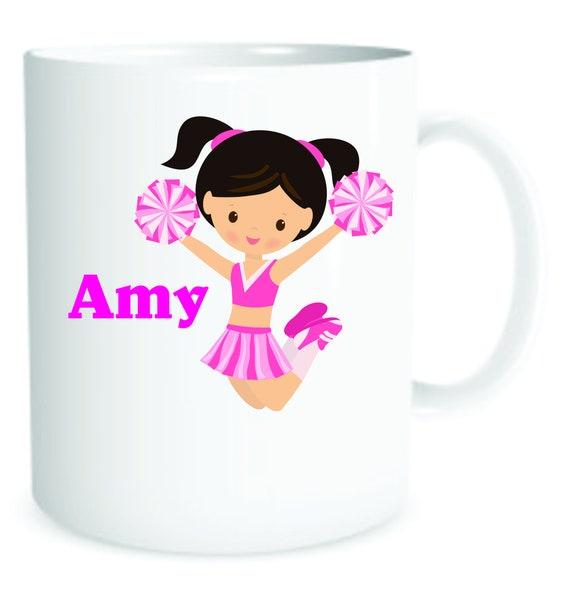 girls Cheer Leader, girl cheer mug, kids cup,  personalized cheer cup, personalized girls mug, girls special cup, girls plastic cup,
