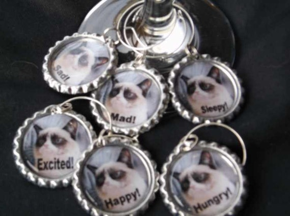 wine charms, wine glass tags, funny charms, funny wine charms, drink charms, cat wine charms, barware charms, wine glass charms