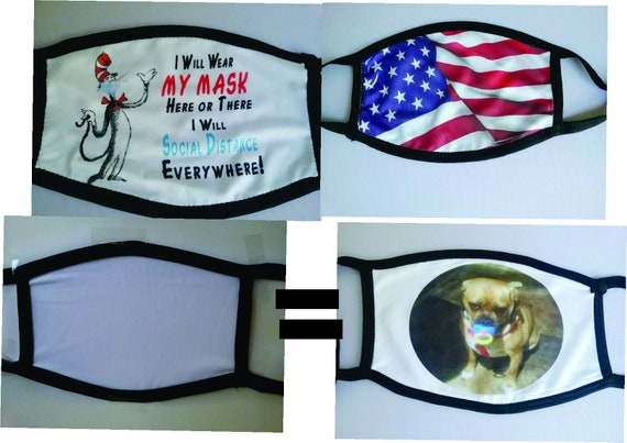 Add your own photo, USA Made Adjustable Adult Face Masks, BREATHABLE, Washable & Reusable Face Mask, 100% polyester