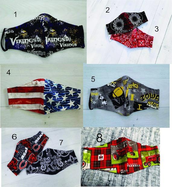 USA Made Adult Face Masks, Washable & Reusable Face Mask, 100% Cotton Mask