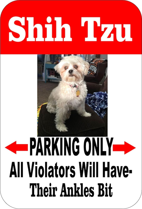 Shih Tzu sign, pet sign, funny sign, aluminum sign, metal sign, yard sign, garage sign, driveway sign, house sign, warning sign, custom sign