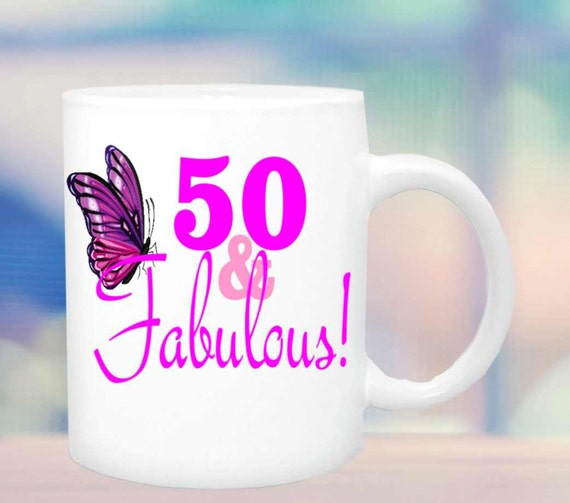 50 & Fabulous coffee mug gift122,Birthday mug,ceramic birthday cup, birthday gift  , personalized coffee mug, mug, cup, custom cup