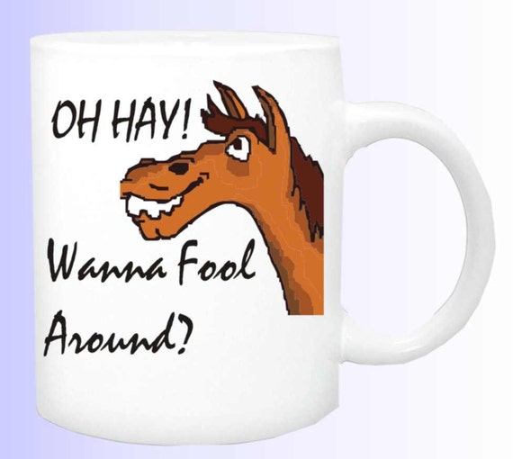 Oh Hay-Wanna fool around #161 horse coffee mug,horse coffee cup, horse lover mug, equine coffee cup, funny horse mug,  horse lover mug