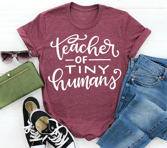 Teacher of Tiny Humans tee shirt, woman shirts, Teacher shirt. sarcastic shirt