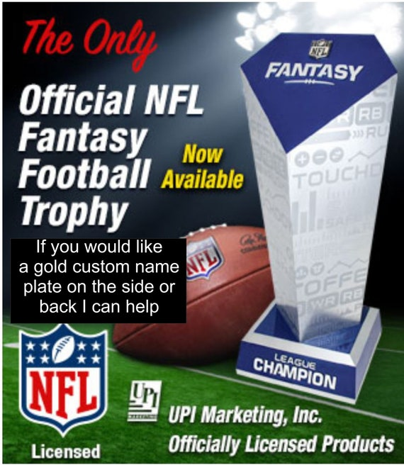 "18"" Tall Official NFL fantasy Football Trophy, Personalized gold plate option available"
