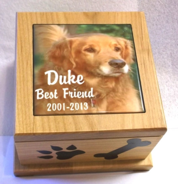 "5""x5"" pet urn, photo memorial box, dog urn, cat urn, memorial urn, memory box, box for ashes, memorial box, memory box"