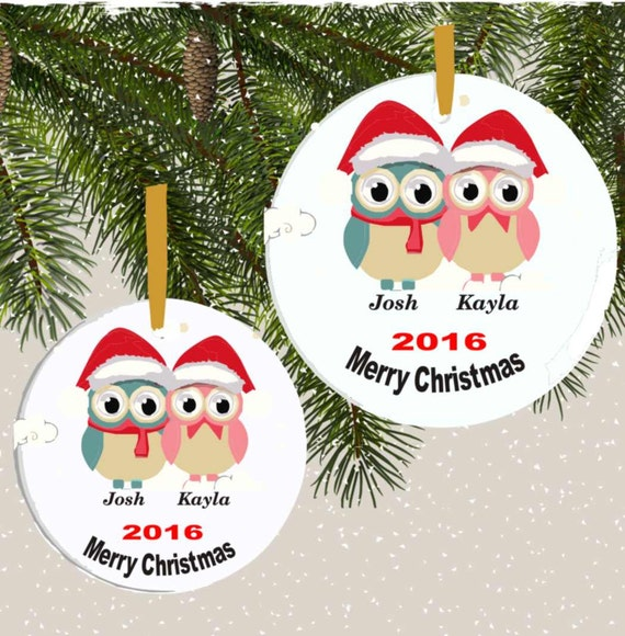 ornament#13,couple's ornament, owl ornament, family ornament, 1st christmas ornament, personalized ornament, custom ornament