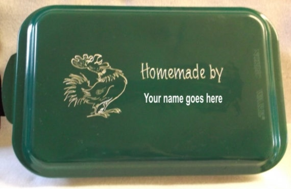chicken cake pan, green cake pan, engraved cake pan, customized cake pan, personalized cake pan, cake pan with name,  cake pan for gift