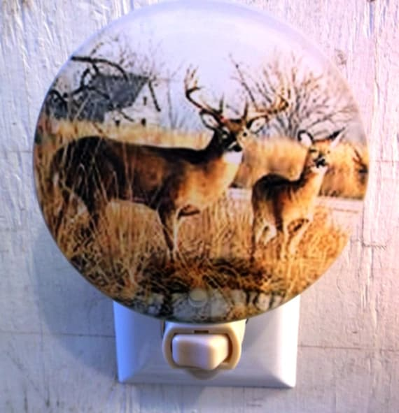 2 deer night light, animal night light, wildlife night light, decorative light, bathroom night light, pretty night light, kitchen light