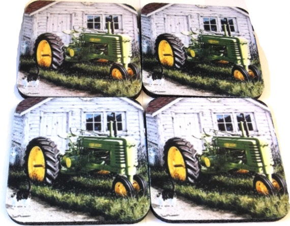 tractor coasters set of 4, farm coaster,kitchen coaster, bar coaster, coffee coaster, drink coaster, rubber coaster, table protector,