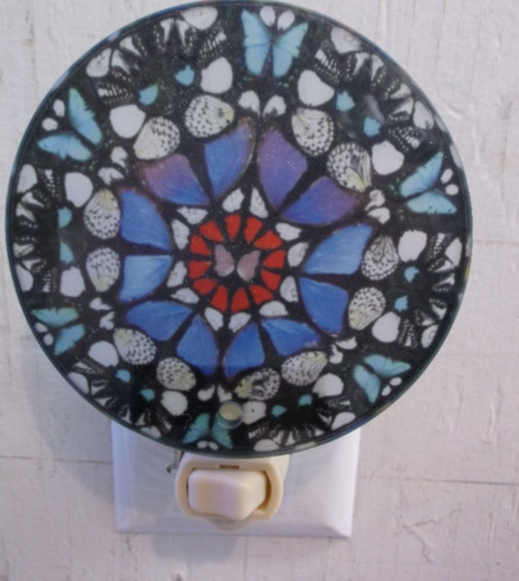 blue mosaic night light, pretty night light, decorative night light, mosaic night light, bathroom night light, kitchen night light