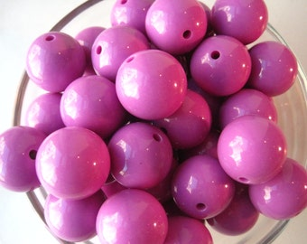 Chunky Gumball Beads, 10 pcs, 20mm Radiant Orchid Purple Chunky Necklace Beads, Gumball Beads, Acrylic Bead, Plastic Bead, Round Bead