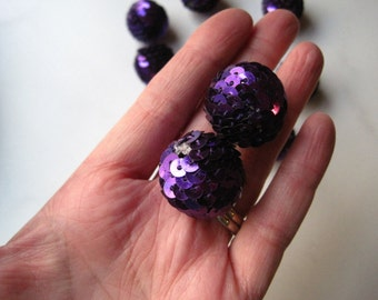 CLEARANCE Purple Sequin Gumball Bead, 4 to 12 pcs Chunky Necklace Bead, Gumball Beads, Bubblegum Bead, Acrylic Bead